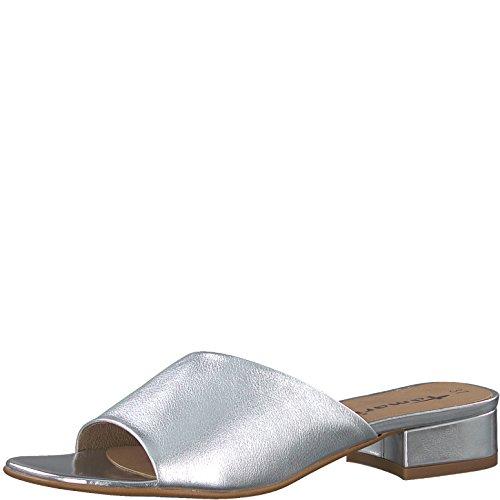 Tamaris 1-1-27122-30 Damen Pantolette, Clogs, Sandale, Sommerschuhe für die modebewusste Frau metallic (Silver), EU 41