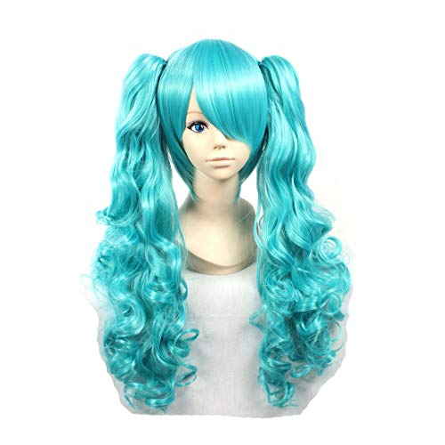 HOOLAZA Blue Long Curly Perücke Vocaloid Magnet Miku für die Halloween Party Cosplay Perücken