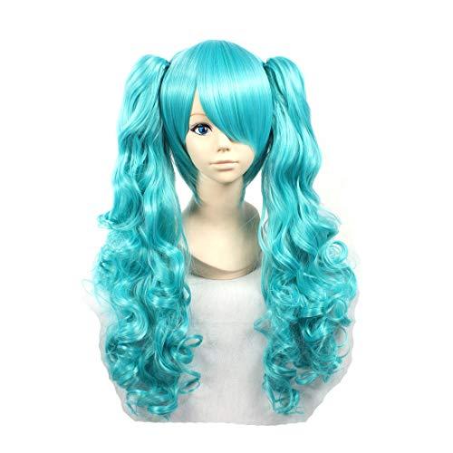 HOOLAZA Blue Long Curly Perücke Vocaloid Magnet Miku für die Halloween Party Cosplay Perücken