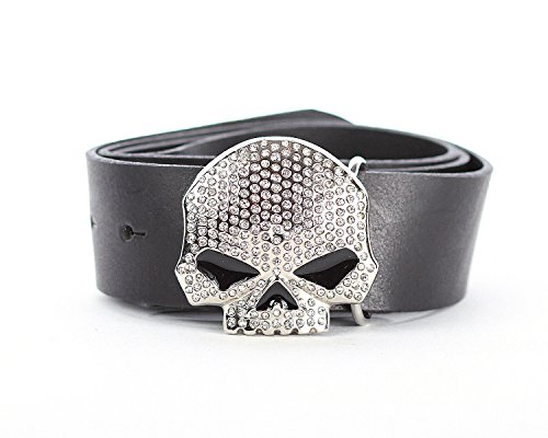 Gürtelschnalle für Damen. Totenkopf Schließe / Belt Buckle mit Strass Steinchen passend für alle Wechselgürtel bis 40mm