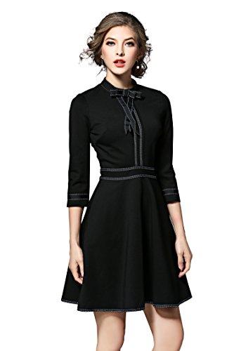LAI&MENG Damen 3/4 Ärmel Minikleid mit Bogen Ausschnitt Partykleid Skaterkleid Elegant Festlich A-Linie Kleid