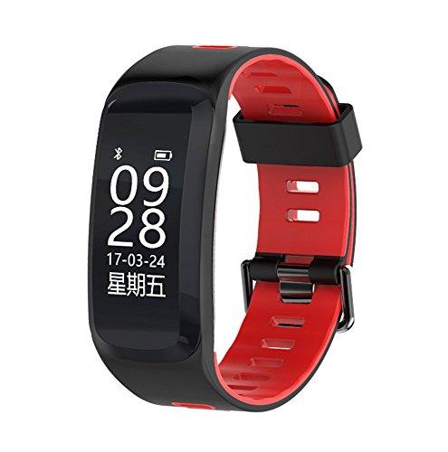 HAMOII 30m Wasserdichten Wasserdichten Sports Schrittzähler, Cool Unisex Dual Color Smart braceletwith Herzfrequenz/Blut Oxygen/Sleep Erkennung und Alarmierung Informationen Funktion, Rot -