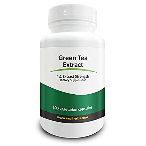Real Herbs Green Tea Pure Extract 4:1 - Equivalent to 2000mg - Natural Antioxidant, Promotes Fat Loss, Improves Cardiovascular Health, Promotes Well-Being & Longevity - 100 Vegetarian Capsules by Real Herbs