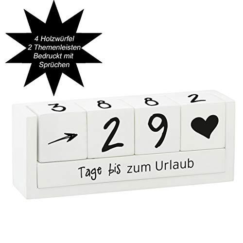 Bada Bing Vintage Countdown Holzwürfel 4 Würfel 2 Themenleisten für max.100 Tage Weiß Geschenk Deko Objekt 68