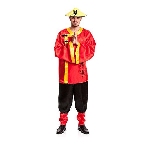 Kostümplanet® Chinesen-Kostüm Herren Chinese China Faschingskostüm Größe 52/54