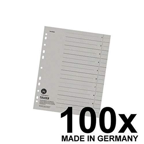 Falken Trennblätter aus Recycling-Karton für DIN A4 100er Pack grau Trennlaschen Trennblätter Ordner Register Kalender Blauer Engel