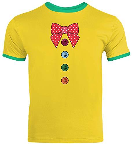 lustige Karneval Gruppen Paar Verkleidung Herren Männer Ringer Trikot T-Shirt Fasching - Clown Kostüm, Größe: S,Sunflower/Kelly Green (Lustige Olympia Kostüm)