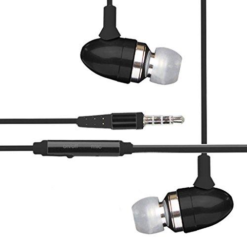 [Black] Htc Quattro Kopfhörer, Htc Radar Kopfhörer, Htc Rezound Kopfhörer - Freisprechen Aluminium High Quality Wired Noise Isolation Stereo-Kopfhörer mit eingebautem Mikrofon und On / Off-Taste