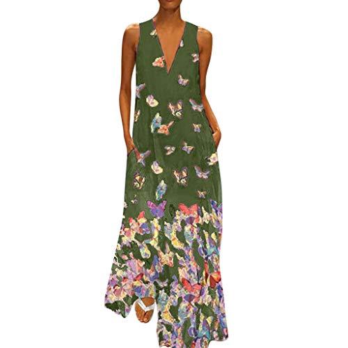 MAYOGO Kleid Damen Sommer Lang Elegant Schick Große Größen Ärmellose Maxikleid Schmetterling Muster Casual Cool Leichte Kleider mit Tasche S-5XL