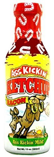 Ass Kickin Mild Ketchup with Bacon- Mild Cookout Cocktail Sauce Gourmet Gift by Southwest Specialty Food
