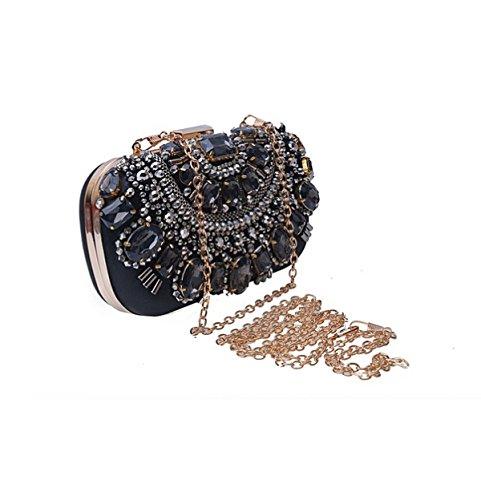POKWAI 2017 Womens Envelope Retro Schwere Hand Genäht Abend Clutch Geldbörse Hochzeit Party Prom Handtaschen Black