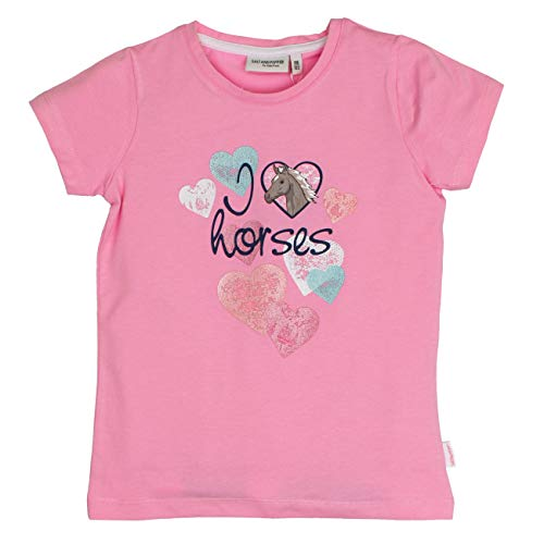 SALT AND PEPPER Mädchen T-Shirt Horses Herzen Print, Pink (Candy Rose 857) 116