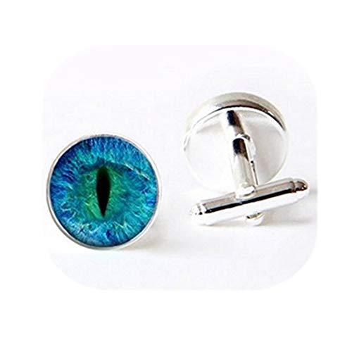 Cat Eye boutons de manchette -. Bleu et Noir. Fait main bijoux. Boutons de Manchette de haute qualité