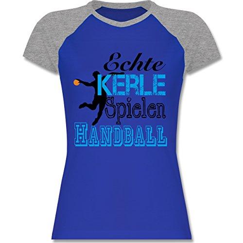 Handball - Echte Kerle Spielen Handball - zweifarbiges Baseballshirt / Raglan T-Shirt für Damen Royalblau/Grau meliert