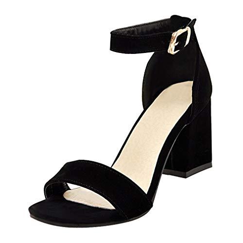 Agodor Damen Riemchen High Heels Sandalen mit Schnalle und Blockabsatz Ankle Strap Pumps Sommer Schuhe Strap Pump Schuhe