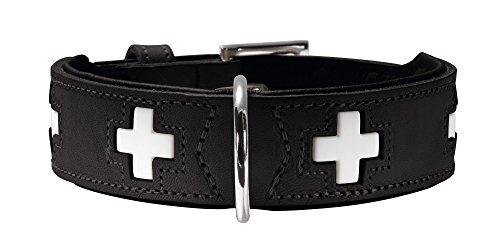 HUNTER Swiss Halsband für Hunde, Leder, hochwertig, schweizer Kreuz, 55, schwarz