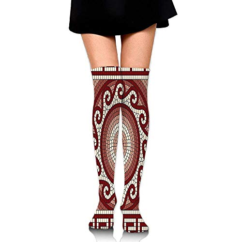 Mosaic With Classic Greek Meander Ornament Fractal Antique Pattern Women's Fashion Over The Knee High Socks (60cm)