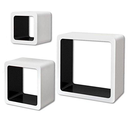 vidaXL 3 Etagères Cubes murales en MDF Blanc-Noir Stockage Rangement pour Livres/DVD