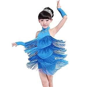 986175b62e9 Hougood Latin Dresses for Girls Kids Sleeveless Tassel Diamond Latin ...