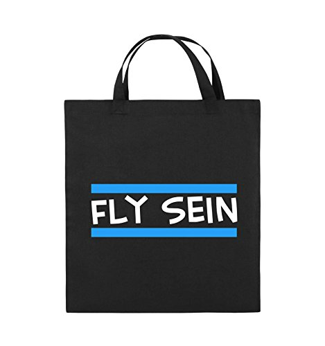 Comedy Bags - Fly sein - Jutebeutel - kurze Henkel - 38x42cm - Farbe: Schwarz / Weiss-Neongrün Schwarz / Weiss-Hellblau
