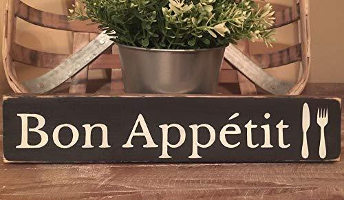 Yilooom Holzschild Bon Appetit Bauernhaus Home Decor Küche Essen Paris Französisch -