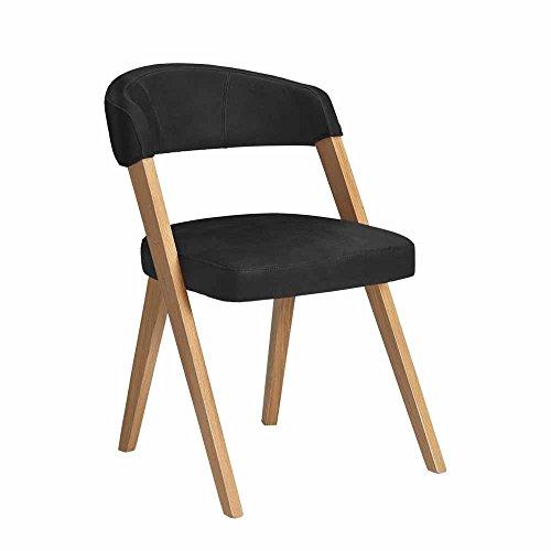Pharao24 Stuhl in Schwarz Kunstleder Massivholzgestell