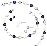 925 Sterling Silver Rhodium Freshwater Cultured Pearl Necklace Bracelet 3pc Earring Set