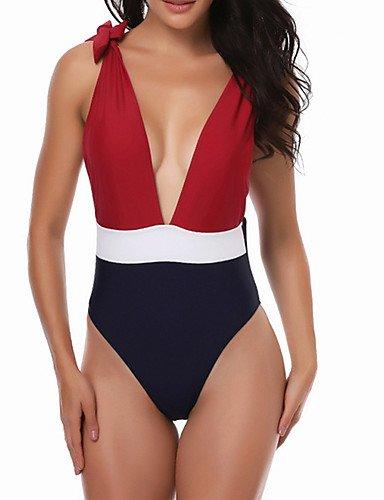 KLDDZQ da bagno donna Per donna A fascia Tinta unita Bikini Costumi da bagno Sensuale,Nylon Rosso red