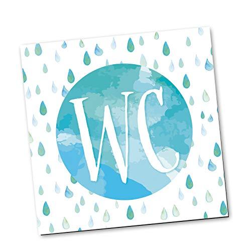Logbuch-Verlag WC-Schild Toiletten-Schild Klo-Schild Türschild Badezimmer blau weiß türkis Aquarell-Optik quadratisch 14 x 14 cm inkl. Klebepunkte neutral Frau + Mann