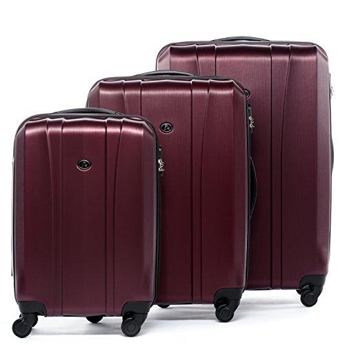 FERGÉ Kofferset Hartschale 3-teilig Dijon Trolley-Set - Handgepäck 55 cm L XL - 3er Hartschalenkoffer Roll-Koffer 4 Rollen 100% ABS rot