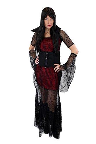 dressmeup Aufwändig & Sexy Kostüm Damenkostüm Kleid Böse Hexe Vampirin Vampir Gothic Queen of the Damned Gr. 44, L (Böse Kleid Hexe)