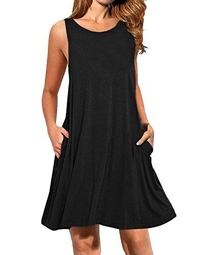 Kidsform Damen Sommer- Ärmellos S Taschen Beiläufige Schwingen T-Shirt-Kleid Short Mini Size XXL schwarz -