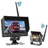 PUMPKIN Rückfahrkamera und Monitor Set Wireless Einparkhilfe mit 7 Zoll LCD Farbdisplay Rear View Monitor Drahtlos IP69 Wasserdichte Kamera für Auto, Bus, LKW, Schulbus, Anhänger
