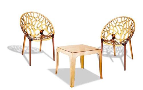 CLP Outdoor-Sitzgruppe ARENDAL | 2 stapelbare Stühle und 1 stapelbarer Tisch | Gartenmöbel aus pflegeleichtem Kunststoff | In verschiedenen Farben erhältlich Bernstein