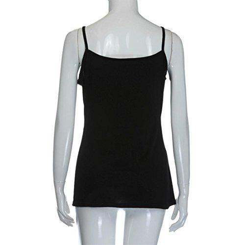 Malloom Damen Sommer Weste Tops Ärmellose Bluse Beiläufiges Trägershirt-Hemd-T-Shirt Schwarz