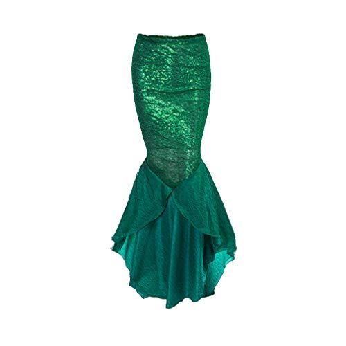 WEIMEITE Frauen Kind Party Kostüm Pailletten Langen Schwanz Rock mit asymmetrischen Mesh Panel Cosplay Shiny Mermaid Maxi Lange Röcke grün ()