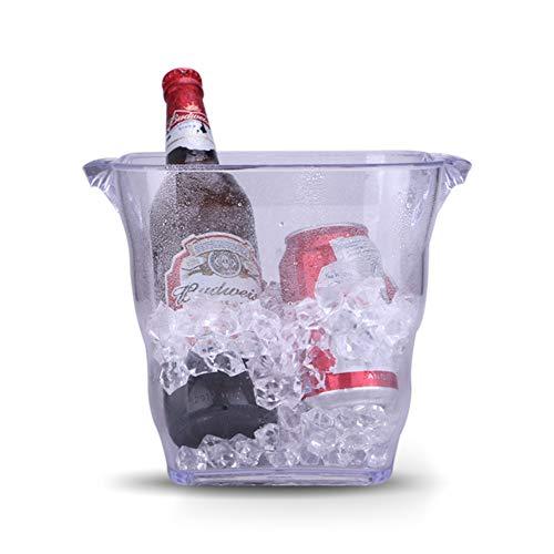 PLLXY Acryl Durchsichtige Eiseimer,Kunststoff Wein Eimer Mit Double Griffe,Champagner Eimer Bruchfest Ice Tub Wein Kühler Für Bar Partei-a 5l/1.5gallon