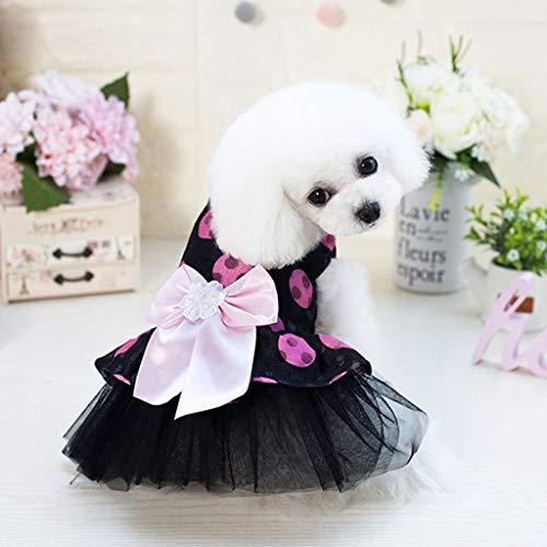 EERTX Niedliche Kleidung für Hunde/Katzen, Rock, großes Kleid, Bogenbogen, Sommer, modisch, Retro, geringes Gewicht, trockene Wasseraufnahme, komfortabel, XS-XL, Polyester, Rose VIF, XS