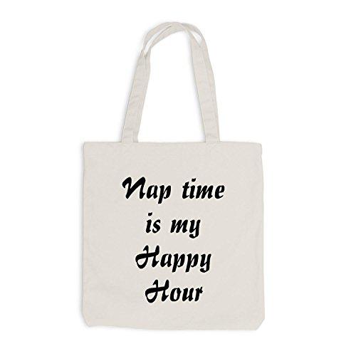 Jutebeutel - Nap Time is my Happy Hour - Schlafen Sleep Beige