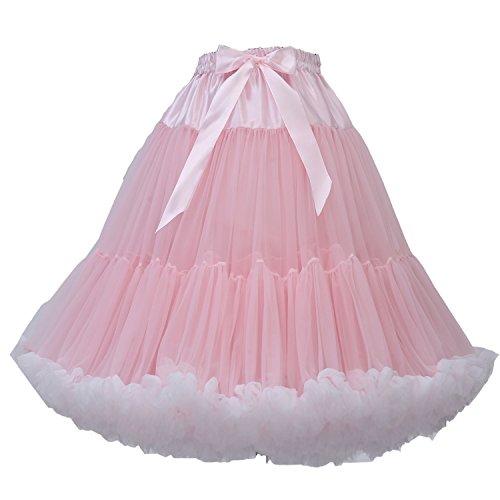 FOLOBE erwachsene luxuriöse weiche Chiffon Petticoat Tüll Tutu Rock Damen Tutu Kostüm Ballett Tanz Multi-Layer Puffy Rock