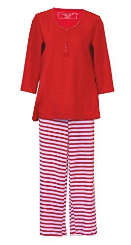 Nautica Ensemble de Pyjamas Henley Thermal Weave Knit - Rouge/Blanc (Moyen, Rouge/Blanc) -