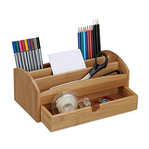 Relaxdays Schreibtischorganizer aus Bambus, Multiköcher mit 4 Fächern und Schublade, natürliche Maserung, HBT: ca. 11 x 27,5 x 15 cm, natur