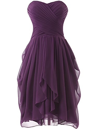 HUINI Strapless Brautjungfer Kleider kurz Chiffon Abendkleid mit Falte besetzt Ballkleid Grape Size 36 (Brautjungfer Strapless Kleid)