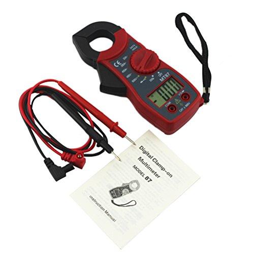 UEETEK Pinza Amperimétrica Multímetro digital Amper amperimétrica Corriente Pinza Probador de voltaje de corriente CA / CC MT87 (Rojo)