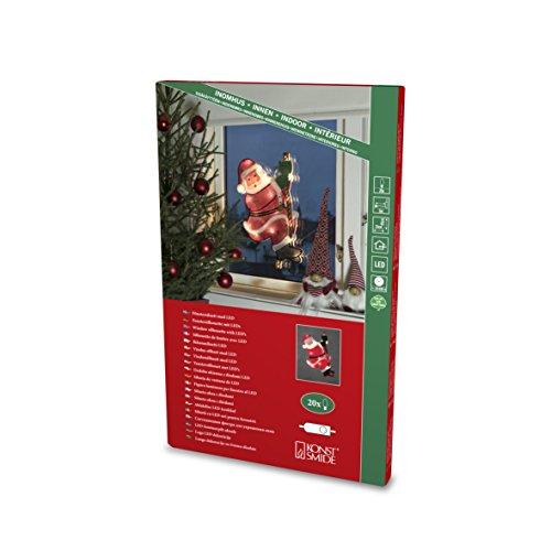 Konstsmide, 2856-010, LED Fensterbild, Kletternder Weihnachtsmann, 20 warm weiße Dioden, 230V, Innen, weißes Kabel