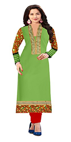 Womens Top & Tunic Latest New Style Ethnic Wear Collection Todays Best Special Deal Offer All Type Of Modern Cotton Green Straight Kurti