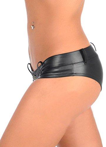 LinvMe Damen Low Waist PU Mini Unterhose Schwarz