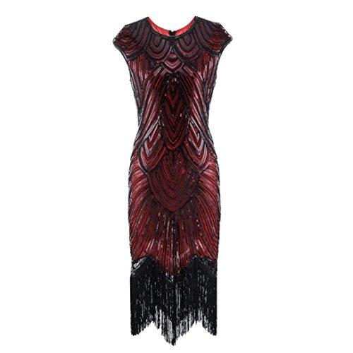 Amphia Damen Flapper Kleider Voller Pailletten Retro 1920er Jahre Stil V-Ausschnitt Great Gatsby Motto Party Damen (Rot, L) (Jahren 1920er Flapper Kleider)