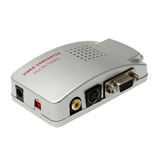 SODIAL(R) Adaptador Convertidor Caja VGA a TV AV Compuesto RCA S-Video para Computadora Portatil PC MAC Monitor - Plateado