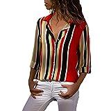MOIKA Bluse Damen Freizeit Elegante V-Ausschnitt Gestreift Locker Hemd Blusenshirt Langarmshirts mit Knopfleiste Frauen Oberteile